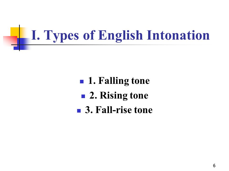 6 I. Types of English Intonation 1. Falling tone 2. Rising tone 3. Fall-rise tone