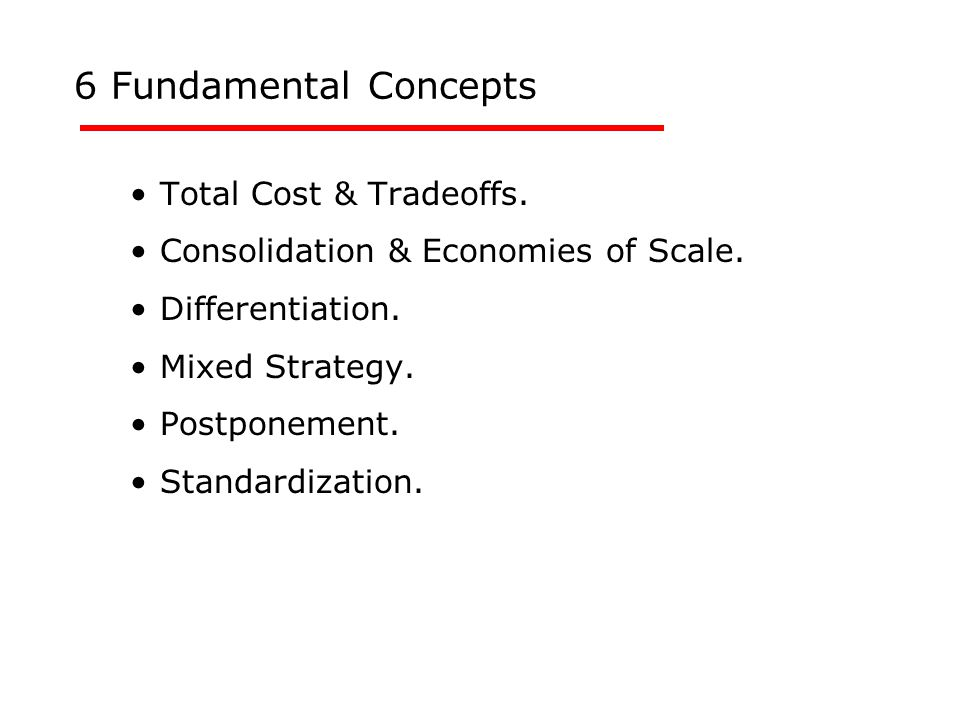 Total Cost & Tradeoffs. Consolidation & Economies of Scale.