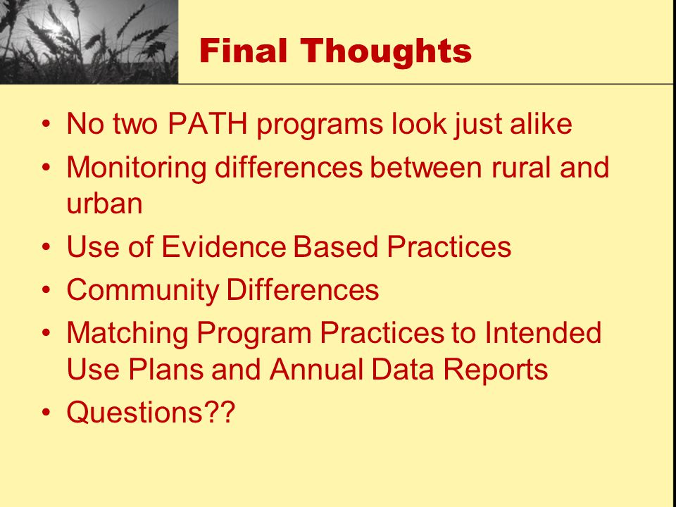 Final Thoughts No two PATH programs look just alike Monitoring differences between rural and urban Use of Evidence Based Practices Community Differences Matching Program Practices to Intended Use Plans and Annual Data Reports Questions