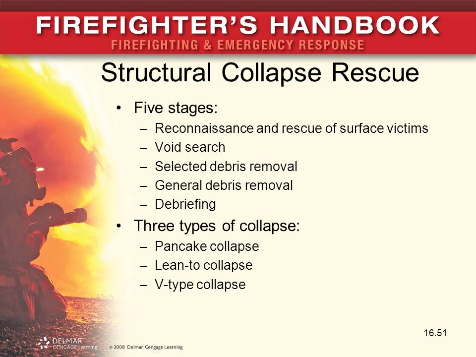 Structural Collapse Rescue Five stages: –Reconnaissance and rescue of surface victims –Void search –Selected debris removal –General debris removal –Debriefing Three types of collapse: –Pancake collapse –Lean-to collapse –V-type collapse 16.51