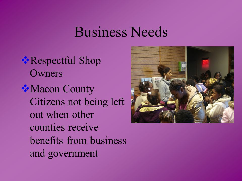 Business Needs  Respectful Shop Owners  Macon County Citizens not being left out when other counties receive benefits from business and government