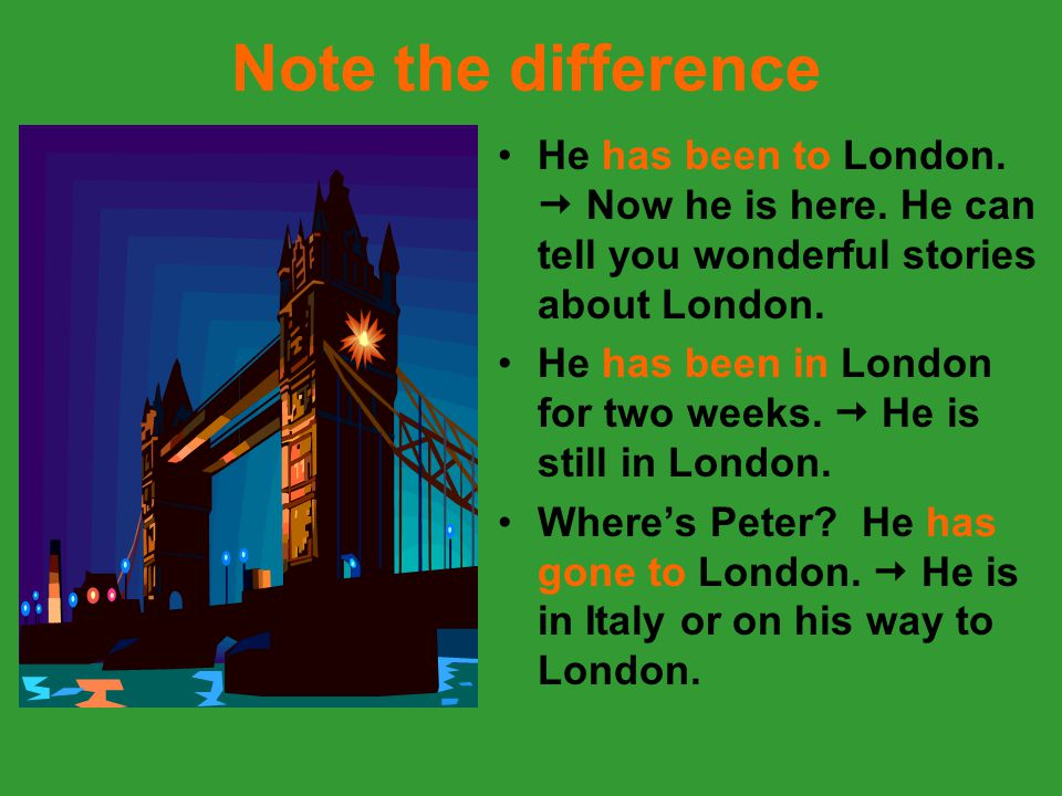 Note the difference He has been to London.  Now he is here. He can tell you wonderful stories about London. He has been in London for two weeks.  He