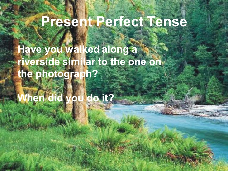 Present Perfect Tense Have you walked along a riverside similar to the one on the photograph? When did you do it?