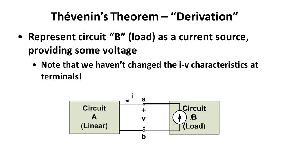 Thévenin's Theorem – Derivation Represent circuit B (load) as a current source, providing some voltage Note that we haven't changed the i-v characteristics at terminals!