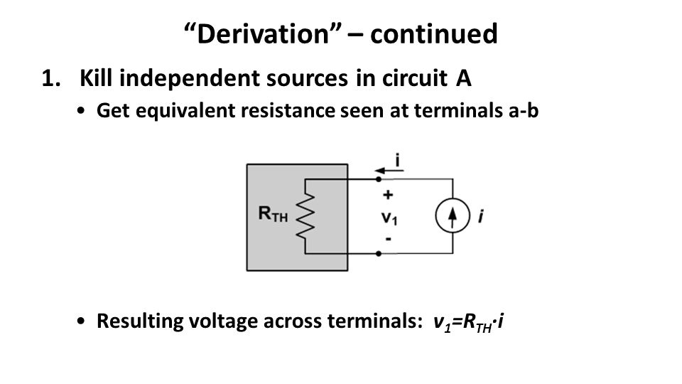 Derivation – continued 1.Kill independent sources in circuit A Get equivalent resistance seen at terminals a-b Resulting voltage across terminals: v 1 =R TH ·i