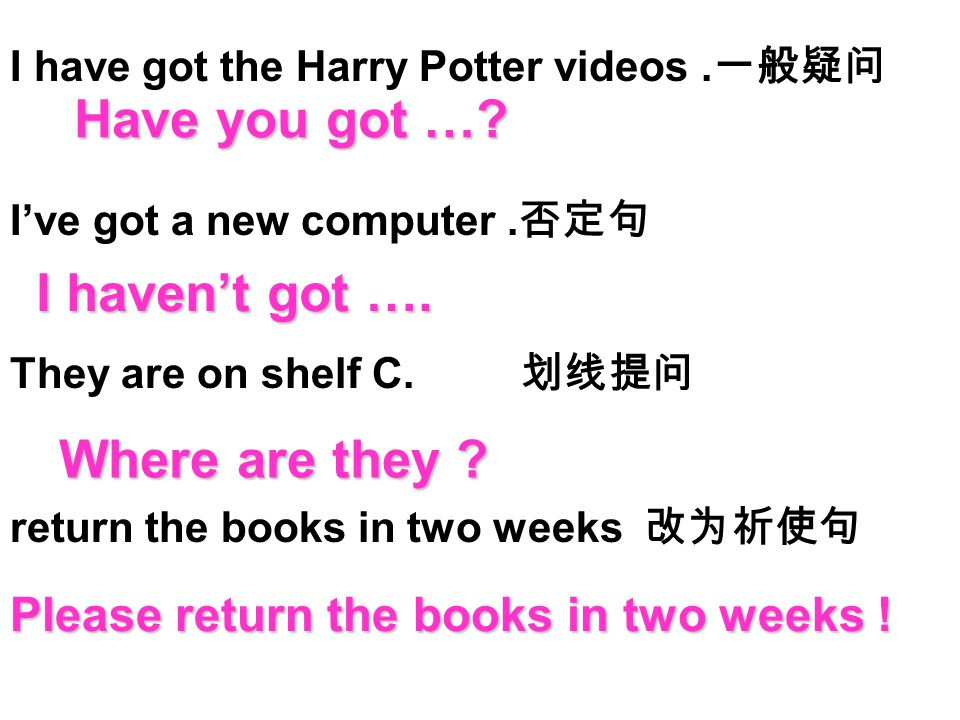 1.I have got the Harry Potter videos. 一般疑问 2.I've got a new computer.