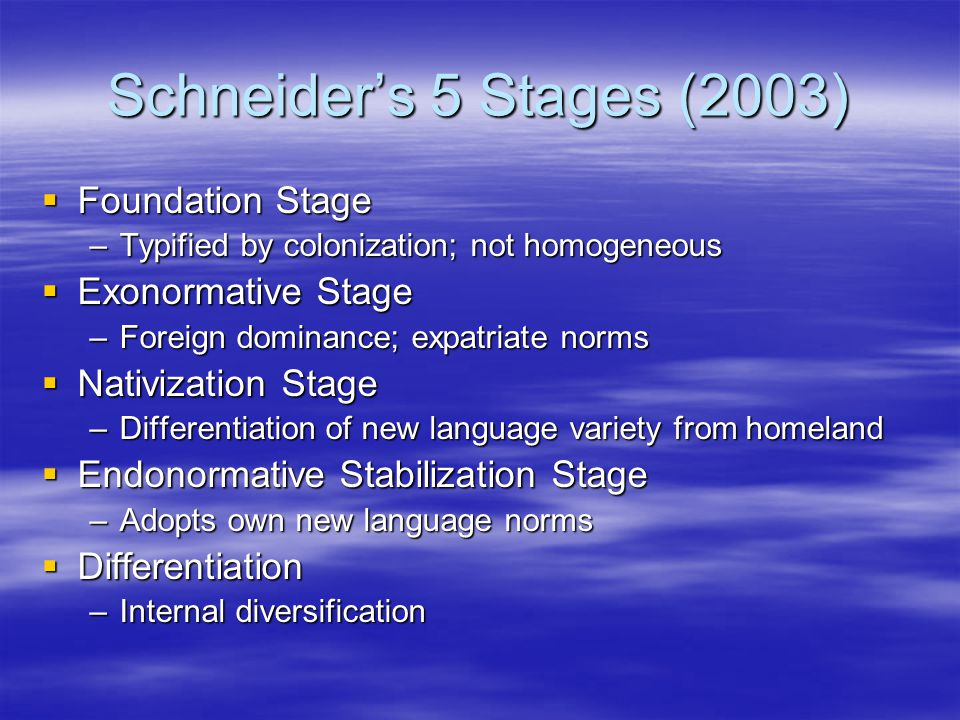 Schneider's 5 Stages (2003)  Foundation Stage –Typified by colonization; not homogeneous  Exonormative Stage –Foreign dominance; expatriate norms  Nativization Stage –Differentiation of new language variety from homeland  Endonormative Stabilization Stage –Adopts own new language norms  Differentiation –Internal diversification