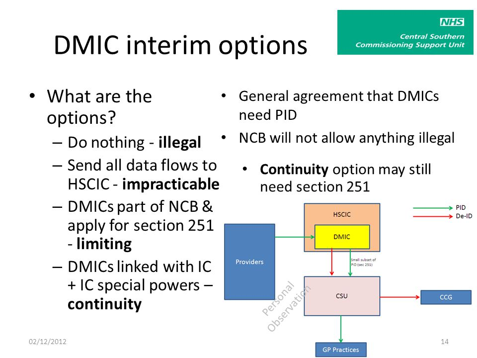 Personal Observation DMIC interim options What are the options.