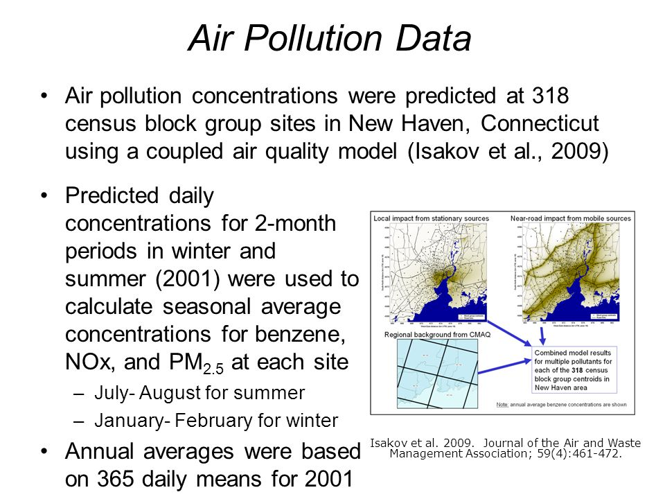 6 Air pollution concentrations were predicted at 318 census block group sites in New Haven, Connecticut using a coupled air quality model (Isakov et a