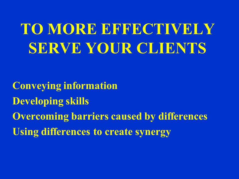 TO MORE EFFECTIVELY SERVE YOUR CLIENTS Conveying information Developing skills Overcoming barriers caused by differences Using differences to create synergy