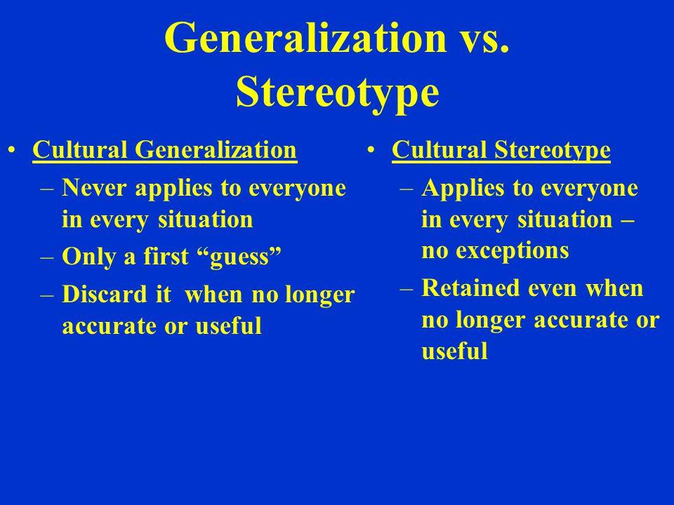 Generalization vs.