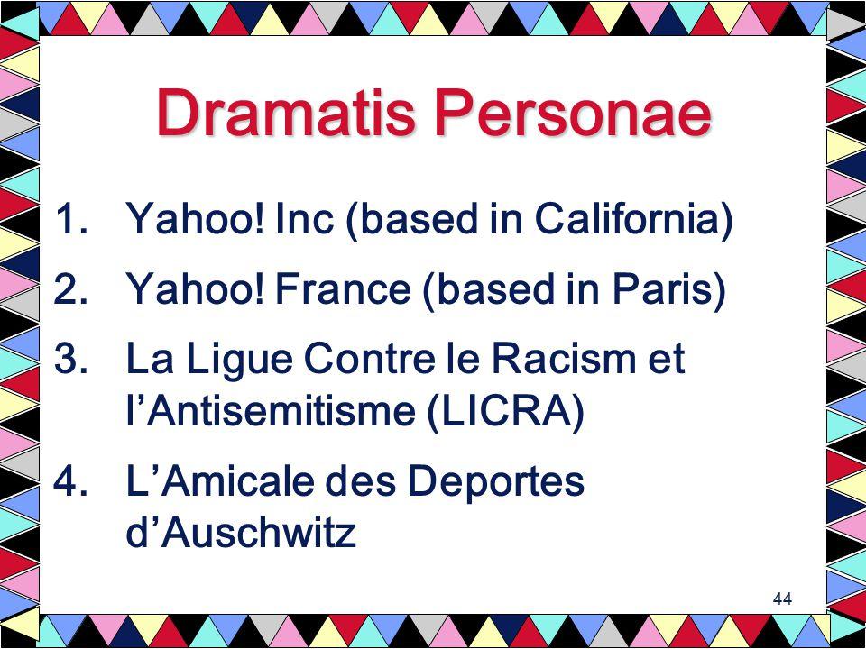 44 Dramatis Personae 1.Yahoo. Inc (based in California) 2.Yahoo.