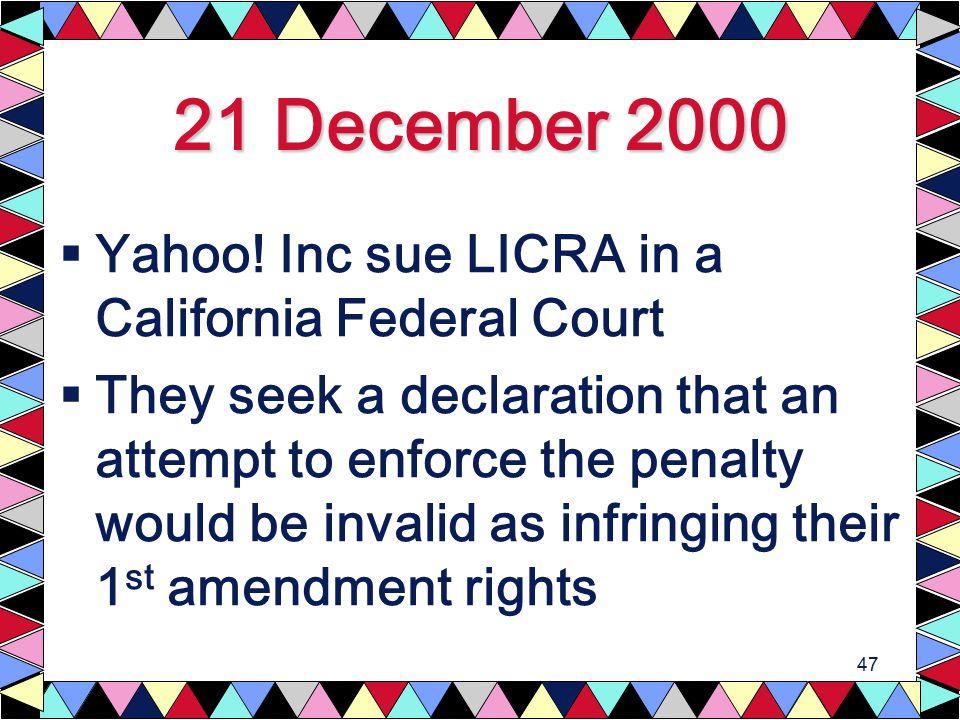 47 21 December 2000  Yahoo.
