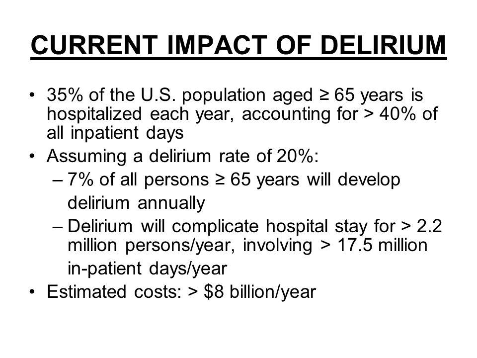 CURRENT IMPACT OF DELIRIUM 35% of the U.S.
