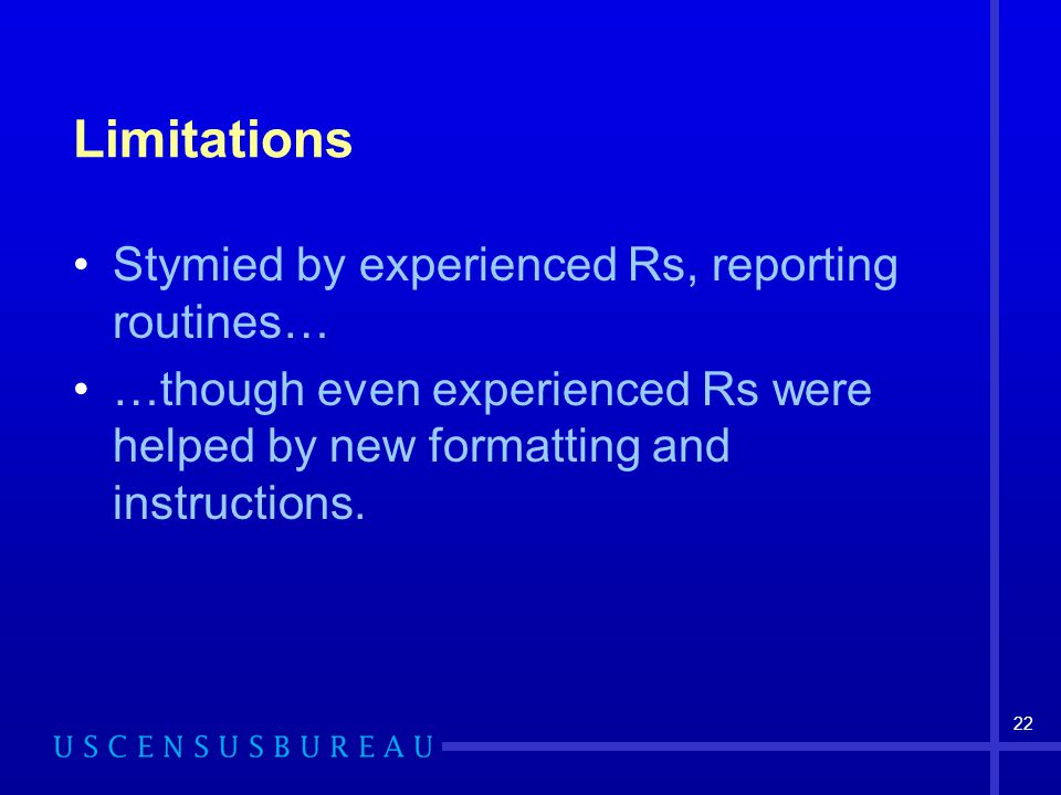 22 Limitations Stymied by experienced Rs, reporting routines… …though even experienced Rs were helped by new formatting and instructions.