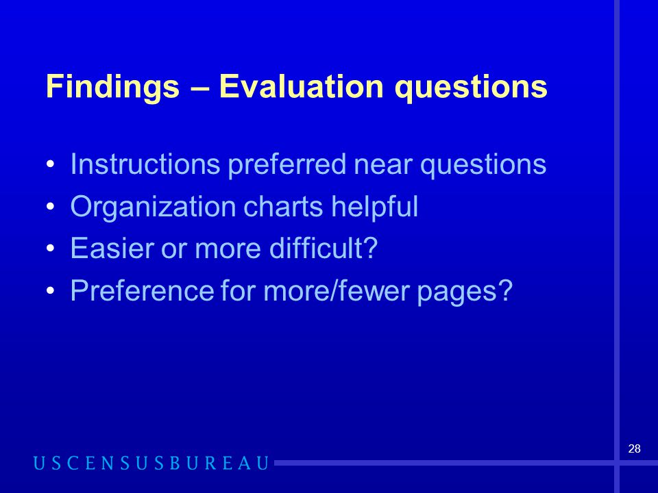 28 Findings – Evaluation questions Instructions preferred near questions Organization charts helpful Easier or more difficult? Preference for more/few