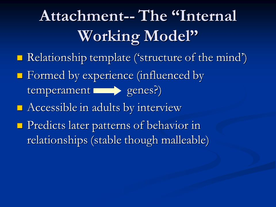 Attachment-- The Internal Working Model Relationship template ('structure of the mind') Relationship template ('structure of the mind') Formed by experience (influenced by temperamentgenes?) Formed by experience (influenced by temperamentgenes?) Accessible in adults by interview Accessible in adults by interview Predicts later patterns of behavior in relationships (stable though malleable) Predicts later patterns of behavior in relationships (stable though malleable)
