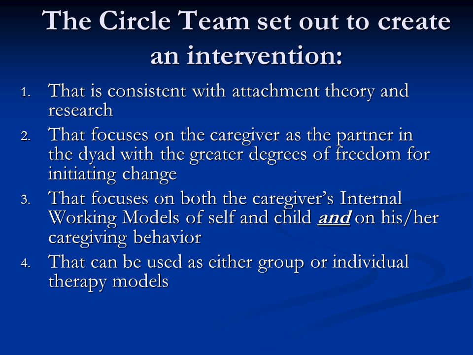 The Circle Team set out to create an intervention: 1.