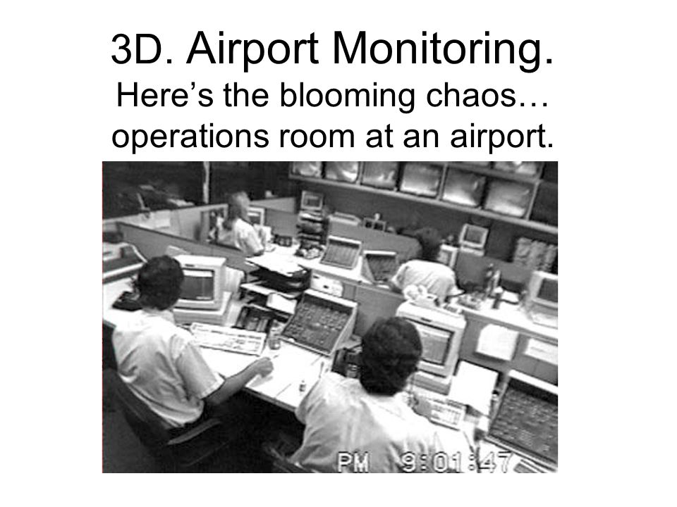3D. Airport Monitoring. Here's the blooming chaos… operations room at an airport.