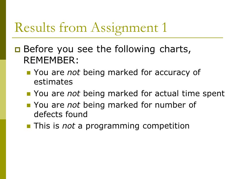 Results from Assignment 1  Before you see the following charts, REMEMBER: You are not being marked for accuracy of estimates You are not being marked for actual time spent You are not being marked for number of defects found This is not a programming competition