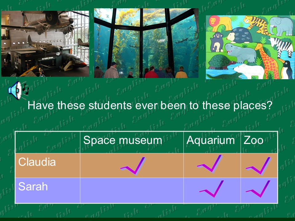 Have these students ever been to these places Space museumAquariumZoo Claudia Sarah