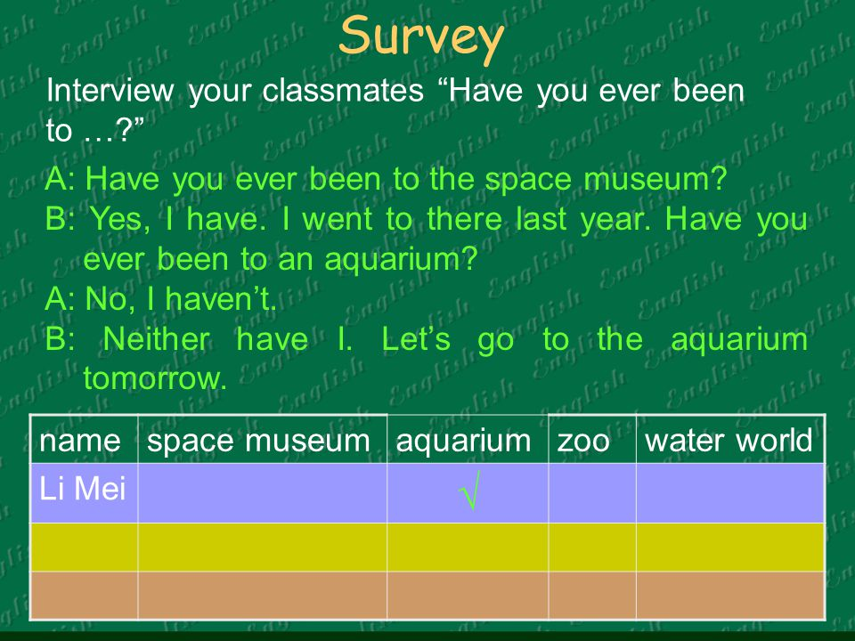 Survey namespace museumaquariumzoowater world Li Mei √ Interview your classmates Have you ever been to … A: Have you ever been to the space museum.