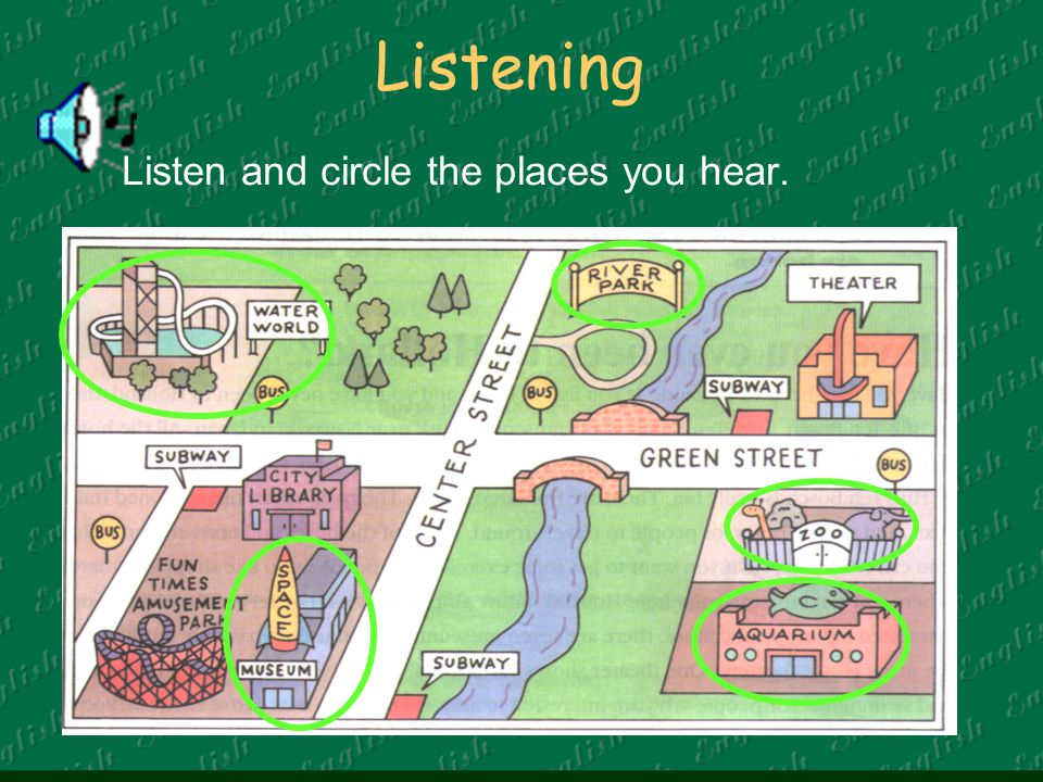 Listening Listen and circle the places you hear.