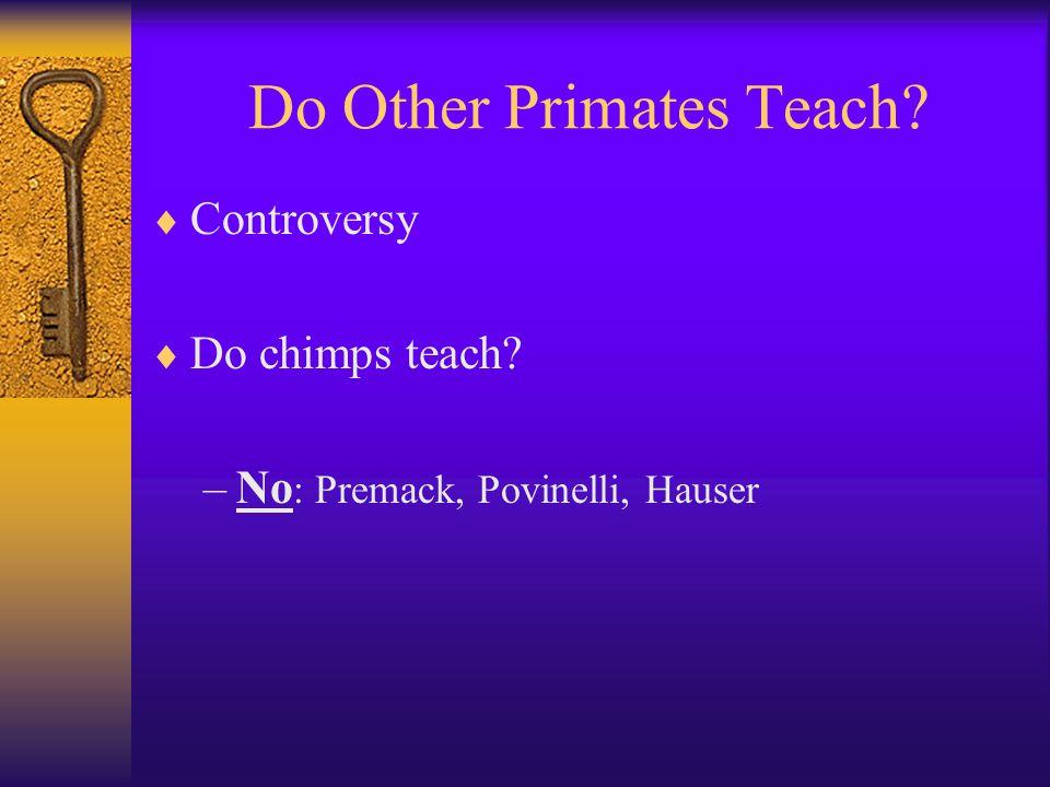 Do Other Primates Teach?  Controversy  Do chimps teach? –No : Premack, Povinelli, Hauser