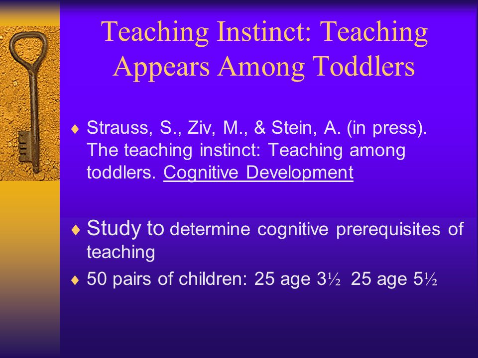 Teaching Instinct: Teaching Appears Among Toddlers  Strauss, S., Ziv, M., & Stein, A.
