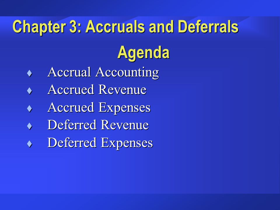 Deferred Expenses Depreciation of plant and equipment Recognizing an expenditure by spreading it over several years, allocating a part of the expense to each of several periods during which the asset is used: A special deferral--depreciation:
