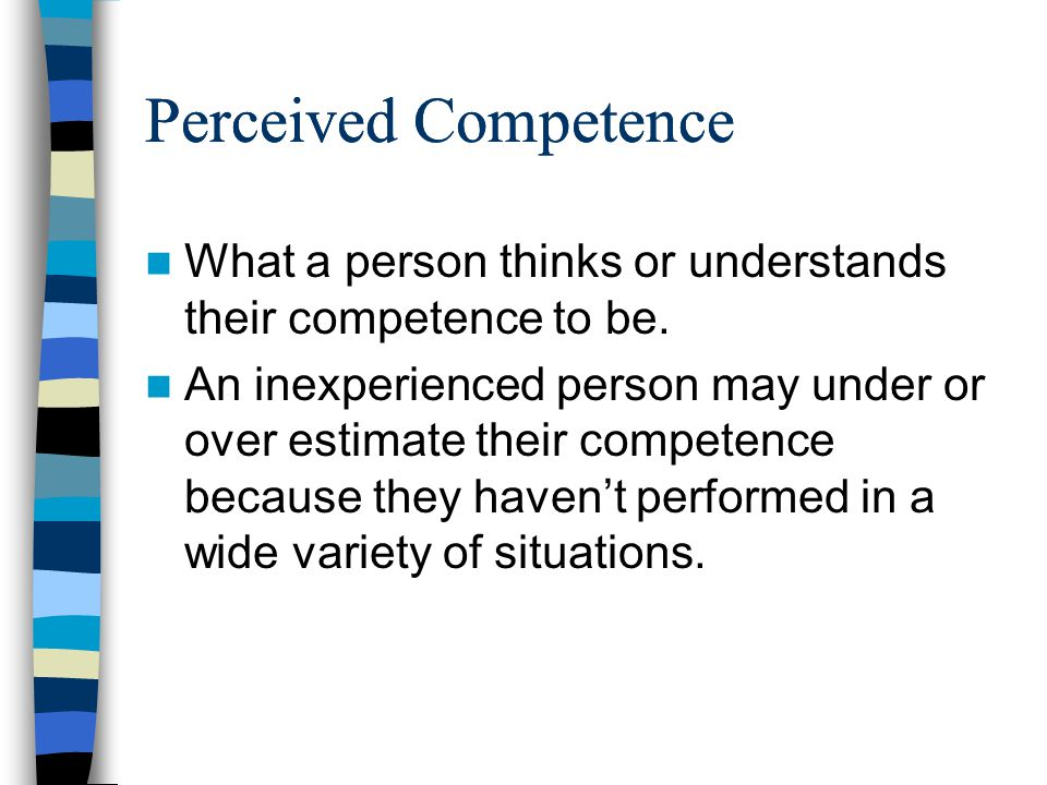 Perceived Competence What a person thinks or understands their competence to be.