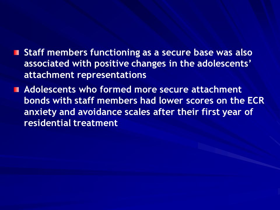 Staff members functioning as a secure base was also associated with positive changes in the adolescents' attachment representations Adolescents who fo