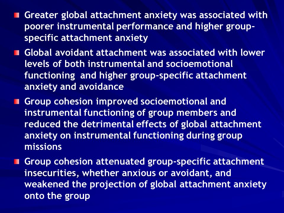 Greater global attachment anxiety was associated with poorer instrumental performance and higher group- specific attachment anxiety Global avoidant at