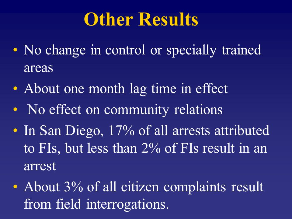 Other Results No change in control or specially trained areas About one month lag time in effect No effect on community relations In San Diego, 17% of all arrests attributed to FIs, but less than 2% of FIs result in an arrest About 3% of all citizen complaints result from field interrogations.