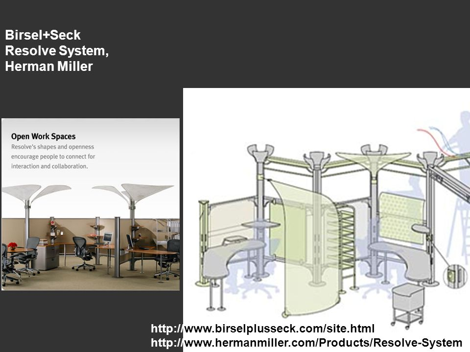 Birsel+Seck Resolve System, Herman Miller http://www.birselplusseck.com/site.html http://www.hermanmiller.com/Products/Resolve-System