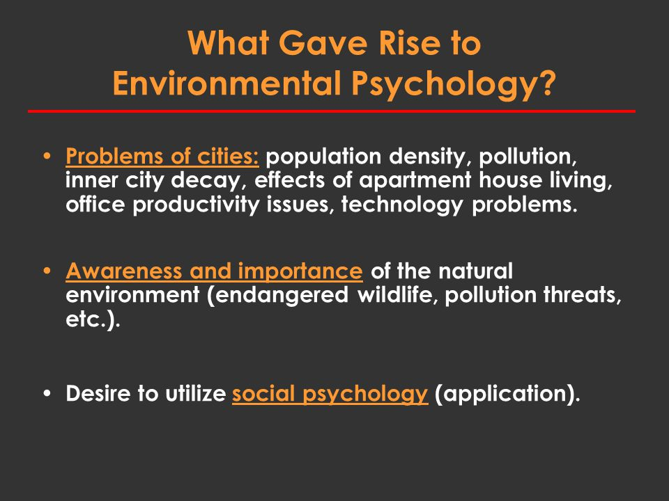 What Gave Rise to Environmental Psychology.