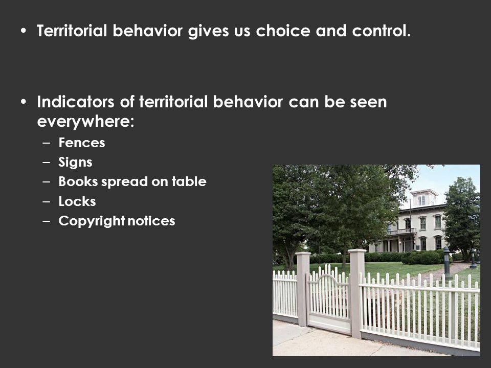Territorial behavior gives us choice and control.