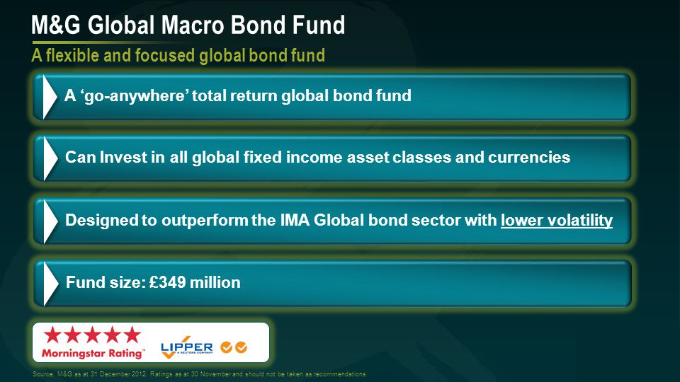 Fund positioning summary M&G Global Macro Bond Fund Key portfolio themes Geographic breakdown % We like the USD and have short positions in sterling, the Japanese yen, the Aussie dollar and Kiwi dollar as well as the SA rand We are very selective – some corporate exposure, but short positions in Brazil, Indonesia, Russia, South Africa & Turkey Quality dominates.