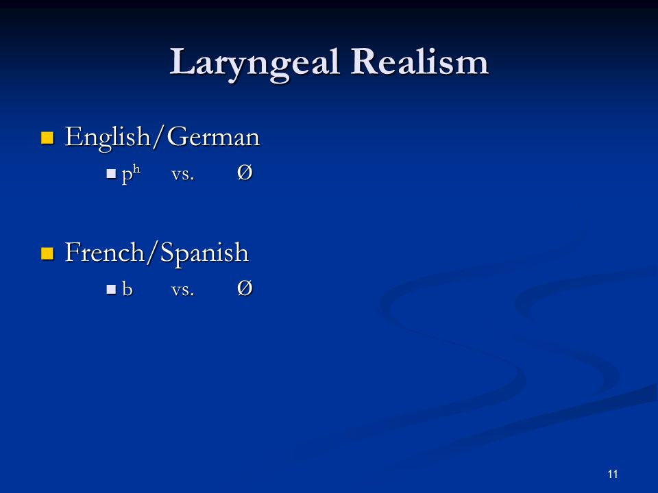 10 Laryngeal Realism English/German English/German /orthographic-p/ is specified for aspiration.