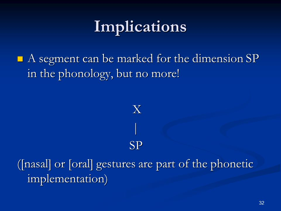 31 The Dimension SP Soft Palate in the phonology. Soft Palate in the phonology.