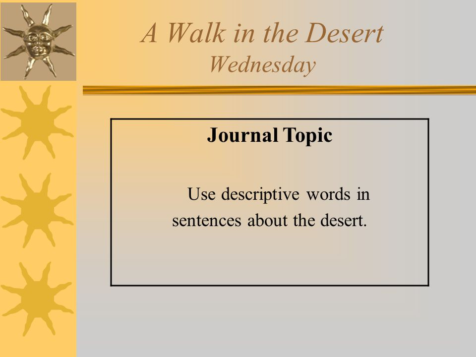 A Walk in the Desert Wednesday Journal Topic Use descriptive words in sentences about the desert.