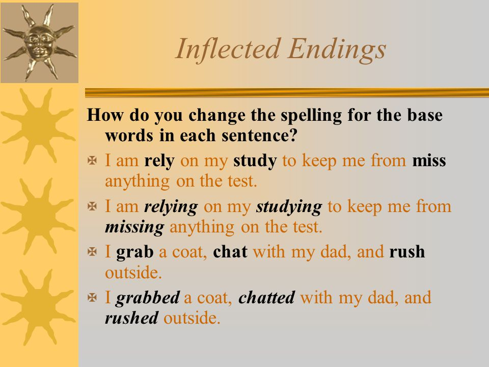 Inflected Endings How do you change the spelling for the base words in each sentence? X I am rely on my study to keep me from miss anything on the tes