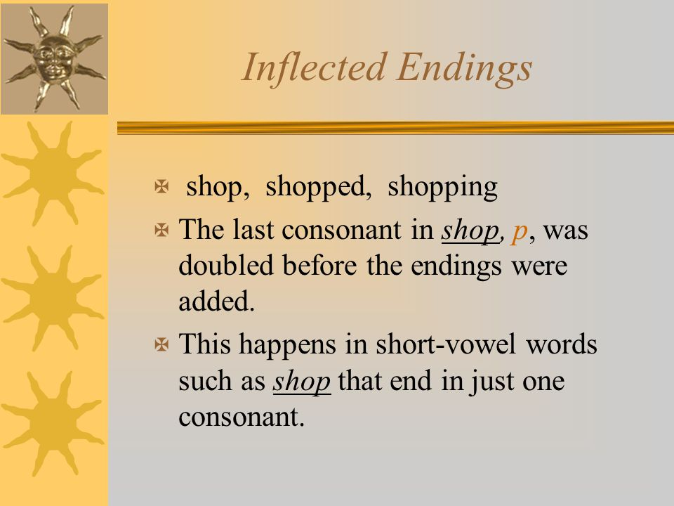 Inflected Endings X shop, shopped, shopping X The last consonant in shop, p, was doubled before the endings were added. X This happens in short-vowel