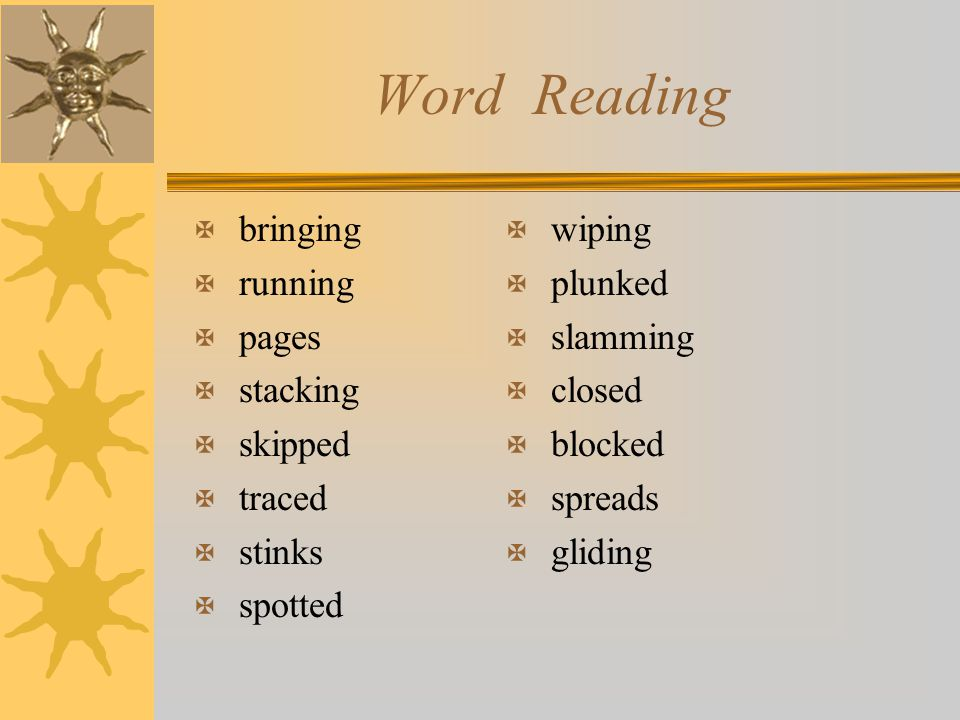 Word Reading X bringing X running X pages X stacking X skipped X traced X stinks X spotted X wiping X plunked X slamming X closed X blocked X spreads