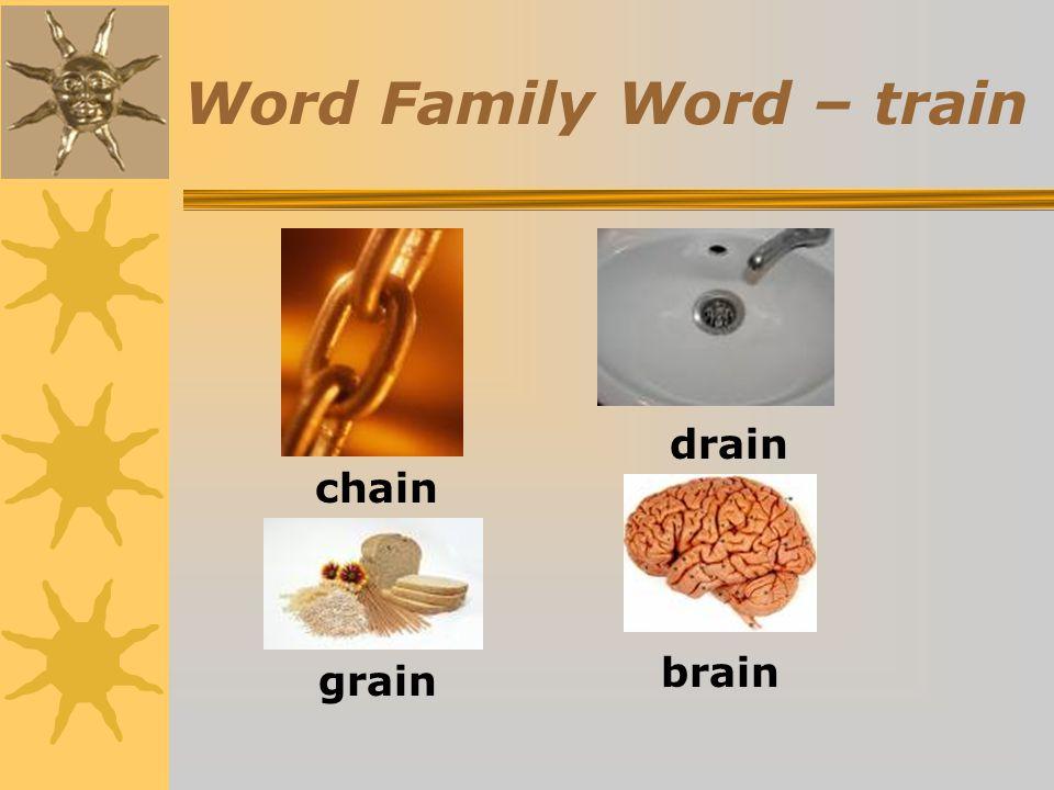 Word Family Word – train chain drain grain brain