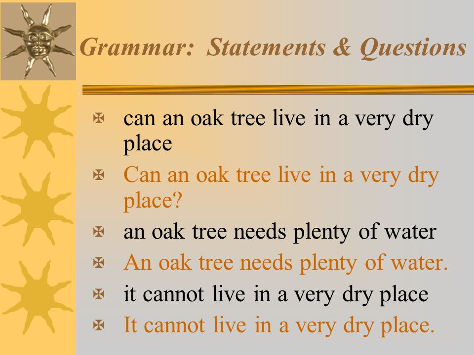 Grammar: Statements & Questions X can an oak tree live in a very dry place X Can an oak tree live in a very dry place? X an oak tree needs plenty of w
