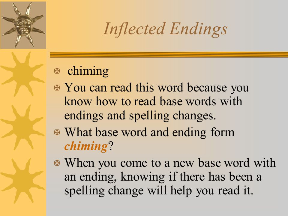 Inflected Endings X chiming X You can read this word because you know how to read base words with endings and spelling changes. X What base word and e