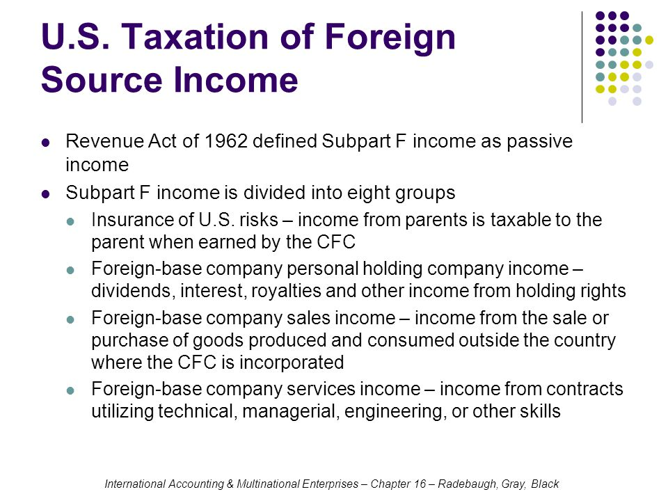 International Accounting & Multinational Enterprises – Chapter 16 – Radebaugh, Gray, Black U.S. Taxation of Foreign Source Income Revenue Act of 1962