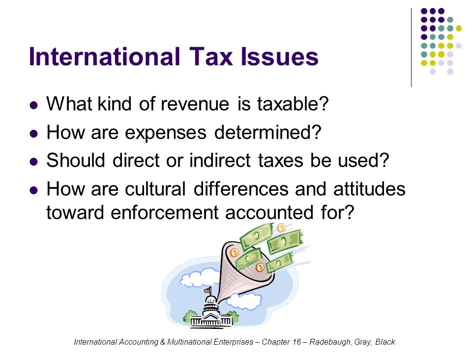 International Accounting & Multinational Enterprises – Chapter 16 – Radebaugh, Gray, Black Tax Planning in the International Environment Choice of Methods of Serving Foreign Markets Foreign Subsidiaries Income is sheltered from taxation in home country until a dividend is remitted (except for passive income of a CFC) Cannot recognize losses by the subsidiary in the parent company More valuable after start-up years