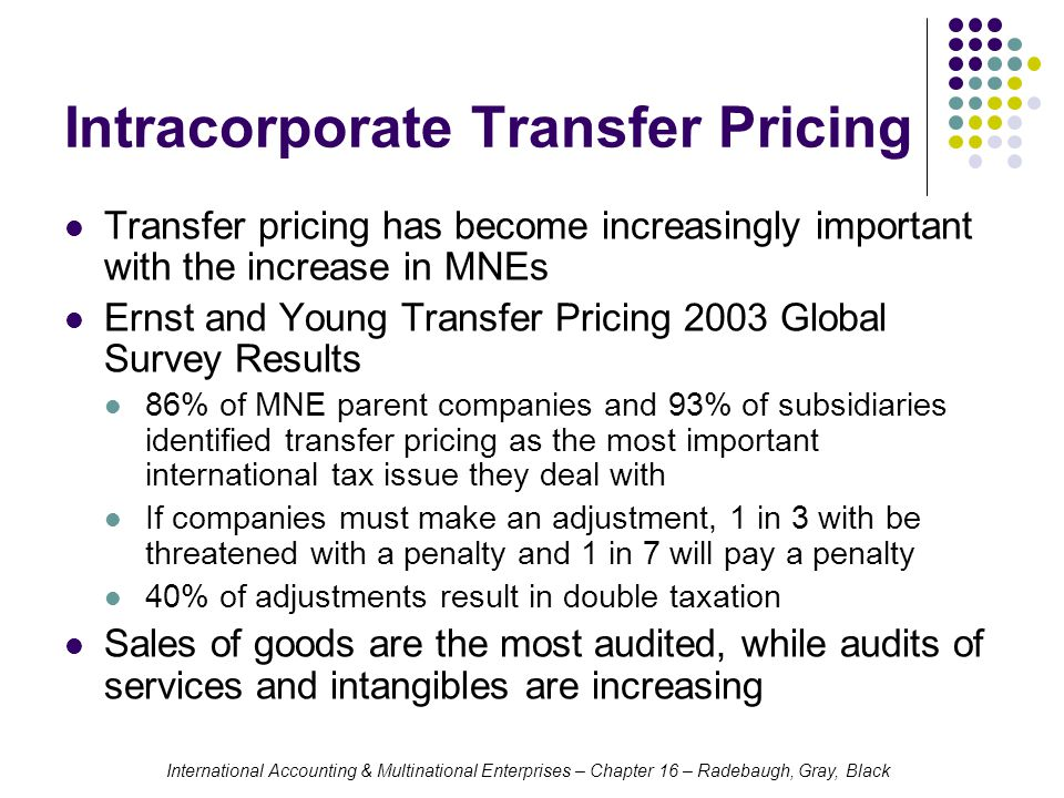 International Accounting & Multinational Enterprises – Chapter 16 – Radebaugh, Gray, Black Intracorporate Transfer Pricing Transfer pricing has become